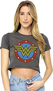 Wonder Woman Vintage Logo Juniors Teen Girls Crop Top T Shirt & Stickers