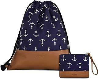 Leapop Turnbeutel Hipster Segeltuch Sporttaschen, Unisex Gym Sack Beutel Anker Sportbeutel Tüte Rucksack mit Innentasche und Schlüsselbund, Münzbörsen