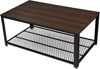 VASAGLE ローテーブル センターテーブル スチールフレーム ワイヤーメッシュ 木製天板80×40cm コンパクト ブラウン NLCT51Z