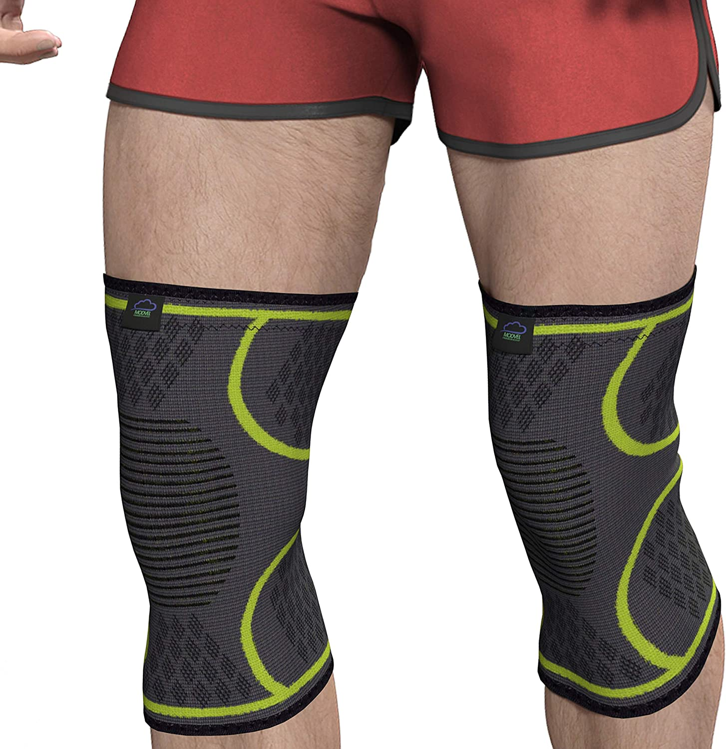 Modvel Compression Knee Sleeve (1 Pair)  FDA Approved, Knee Brace Support for Arthritis, ACL, Running, Biking, Basketball Sports, Joint Pain Relief, Meniscus Tear, Faster Injury Recovery.