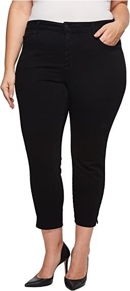 NYDJ Plus Size - Plus Size Ami Skinny Ankle w/ Slit Clean in Black