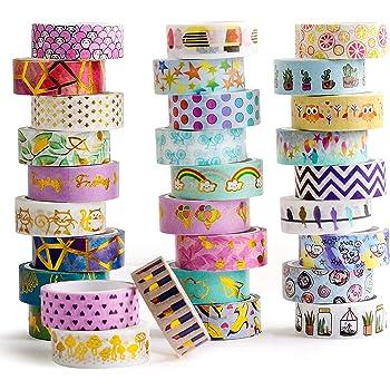 Pveath 24 Rollen Washi Tape Set 4M Washi Masking Tape Briefumschl/ägen Dekorative Klebeband mit 24 verschiedenen Muster zum Versch/önern von Karten Geschenken und Fotoalben Gleicherma/ßen Geeignet