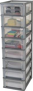 Amazon Basics 135661 Tour de Rangement 8 tiroirs Organizer Chest, Plastique, Gris, 8 x 7 L