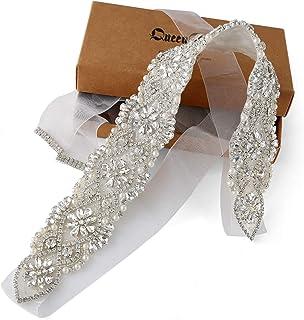Accesorios de boda hechos a mano Cinturón nupcial Cinturón de cristal de diamantes de imitación para vestido de novia Organza plata-blanca