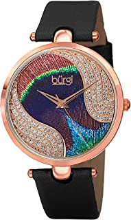 Burgi Unique Swarovski Crystal Peacock Feather Pattern Watch - Sparkling Crystal Colorful Dial and Case on Genuine Leather Strap - BUR131