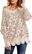 Foshow Womens Leopard Print Distressed Pullover V Neck Off Shoulder Cropped Oversized Ripped Loose Knit Sweater Blouse