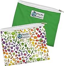 Planet Wise Reusable Zipper Sandwich Bags, 2-Pack, Farmer's Market/Green Poly