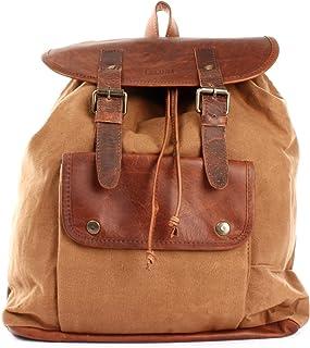 LECONI großer Freizeitrucksack Vintage-Look Rucksack aus Canvas  Leder für Freizeit & Sport Used-Look Wanderrucksack für Damen  Herren Retro-Style Design 36x40x11cm LE1010-C