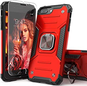 IDYStar iPhone 8 Plus Case with Tempered Glass Screen Protector, Hybrid Drop Test Cover with Card Mount Kickstand Slim Fit Protective Phone Case for iPhone 6/6s/7/8 Plus (Red)