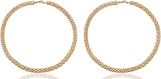 Mesh Pattern Large 4 Inch Hoop Earrings - Available in 2 Colors!