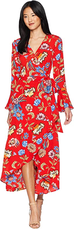 Bell Sleeve Wrap Maxi Dress
