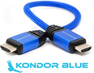 "KONDOR BLUE 14"" HDMI to HDMI Male Deluxe Nylon Braided Cable for 4K UHD on-Camera Monitors and Cinema Rigs 1FT Long Type A 2.0 (14"" Braided)"