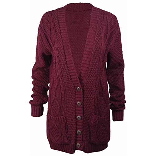 6030c6e8849e4 Purple Hanger Long Sleeve Full Length Cable Knit Knitted Boyfriend Cardigan  - Size 8 10 12