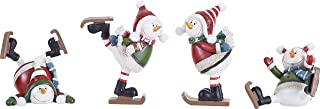 Silly Ice Skating Snowman 6 inch Resin Stone Christmas Figurines Set of 4