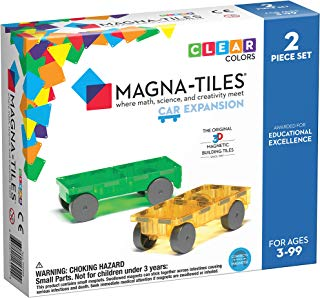 Magna-Tiles 2-Piece Car Expansion Set – The Original, Award-Winning Magnetic Building Tiles – Creativity and Educational – STEM Approved