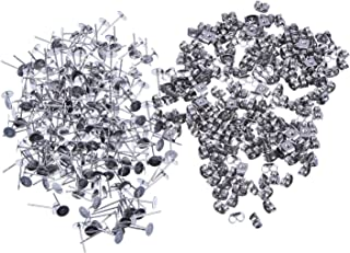 200 Pairs (400 Pieces) Stainless Steel Earrings Posts Flat Pad with Butterfly Earring Backs for Earring Making Findings