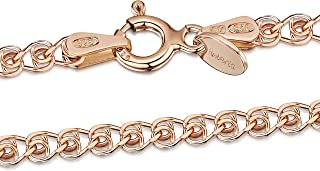 14K Rose Gold Plated on 925 Sterling Silver 2.3 mm Heart Chain Necklace 14