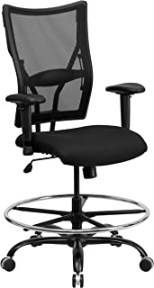 Flash Furniture HERCULES Series Big & Tall 400 lb. Rated Black Mesh Ergonomic Drafting Chair with Adjustable Arms - WL-5029SYG-AD-GG