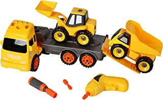 Take Apart Toys Construction Truck with Lights, Sounds - Transport Vehicle, Front Loader, Dump Truck and Electric Drill - Fun STEM Toys for Developing Problem-Solving, Building and Fine Motor Skills