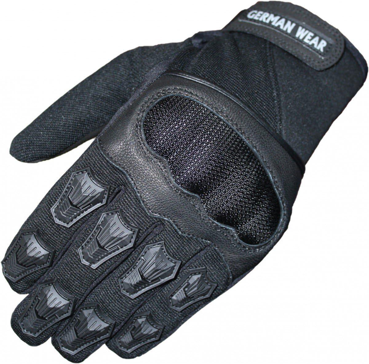 German Wear Motocross Motorradhandschuhe Sommer Motorrad Biker Handschuhe Textilhandschuhe Schwarz Size 9 L Auto