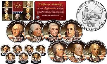 FOUNDING FATHERS U.S.A. Colorized WASHINGTON DC Statehood US Quarters 7-Coin Set