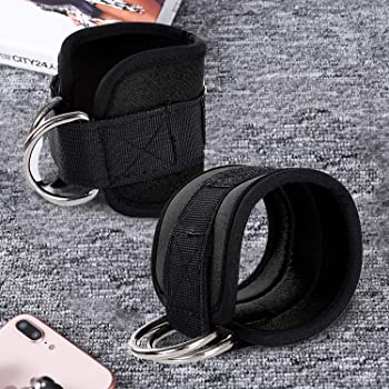 Zrova Ankle Straps for Cable Machines, Fitness Padded Ankle Cuffs Strap Attachment Workout for Legs Glutes - Stainles...