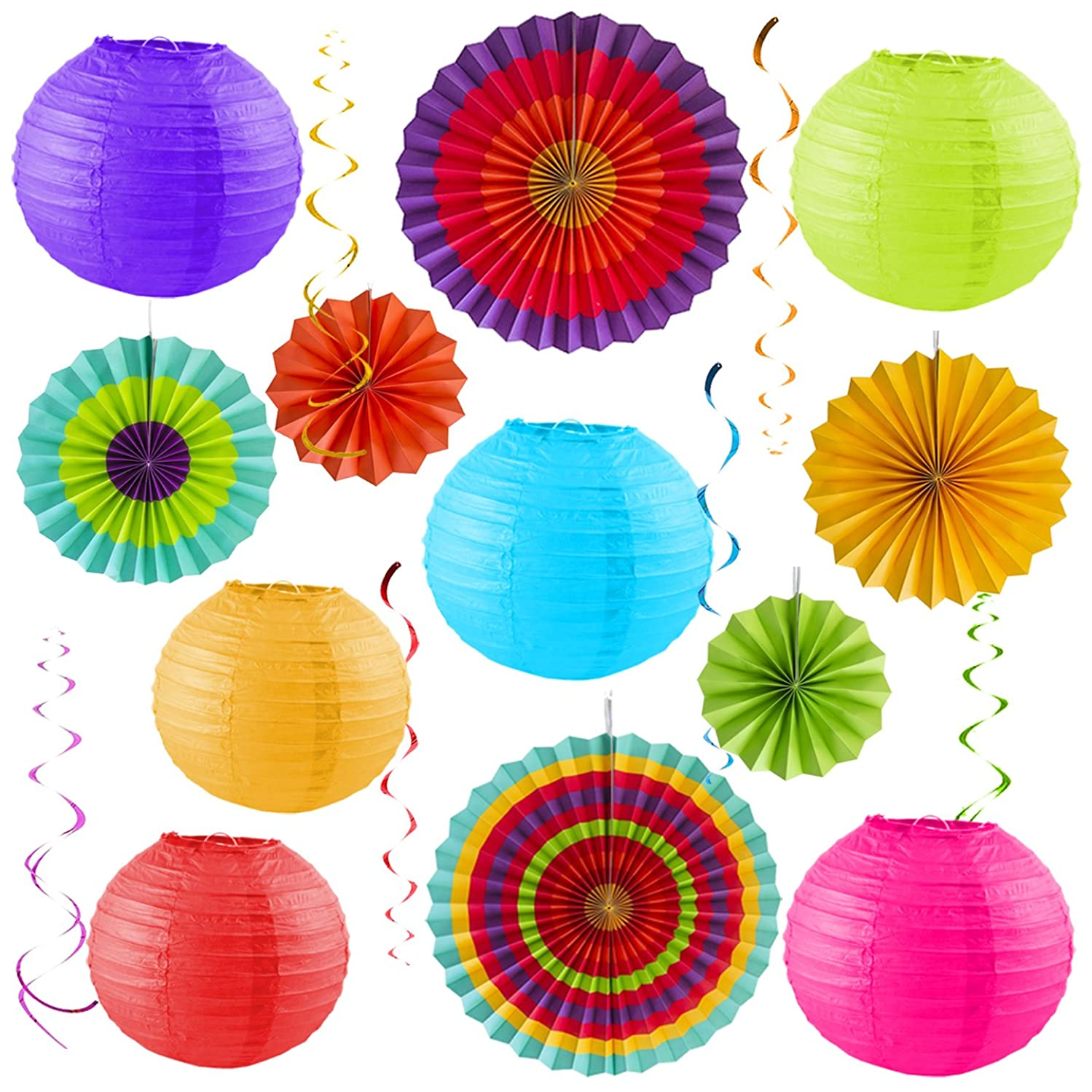 Colorful Party Pack – Birthday Decorations - Outdoor Fiesta – Cinco De Mayo – Baby Shower – Wedding – Bachelorette - Photo Props