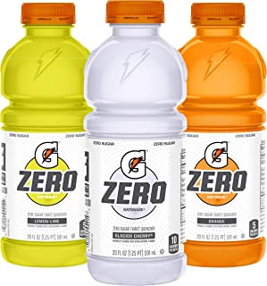 Gatorade Zero Sugar Thirst Quencher, 3 flavor Variety Pack, 20 Fl Oz (Pack of 12)