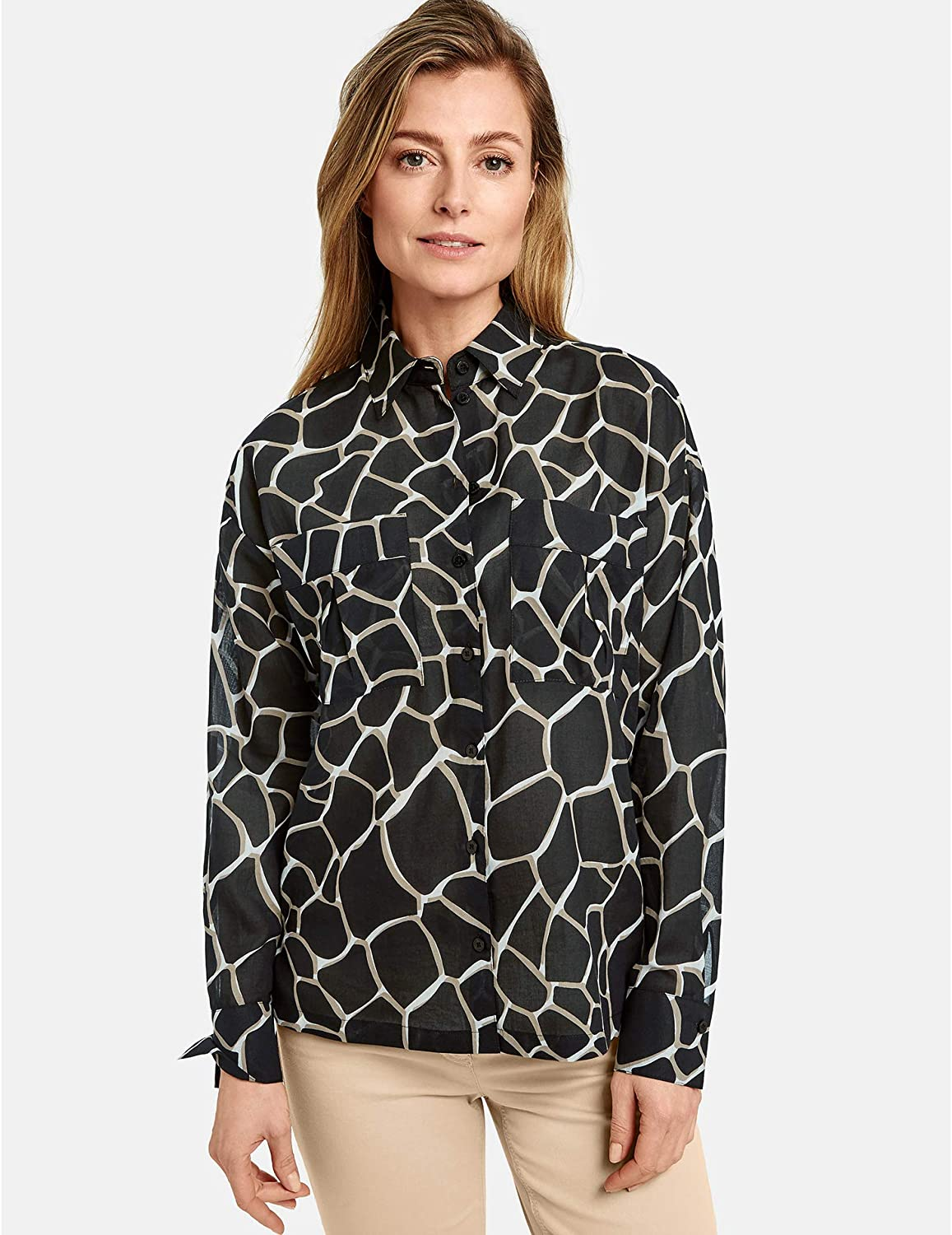 Gerry Weber Women's Long-Sleeved Blouse with Animal Print Figure Playing Ecru/White/Black Print