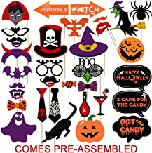 Halloween Photo Booth Props Kit | Happy Halloween Photo Props | No DIY Required | Large Size, 33 Count