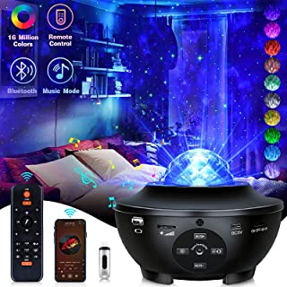 Galaxy Projector Star Projector Night Lights for Kids Room with Music Bluetooth Speaker Voice/Remote Control Timer, Multic...