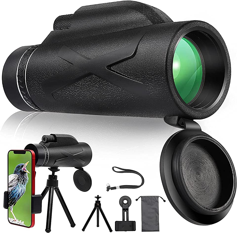 Monocular Telescope, Monoculars for Adults Starscope Monocular 80x100 Telescope HD Portable Waterproof Anti-Fog Scope with Smartphone Holder and Tripod with for Hunting Camping Outdoor Sporting