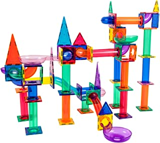 PicassoTiles Marble Run 150-Piece Magnetic Tile Race Track Toy Play Set STEM Building & Learning Educational Magnet Constr...