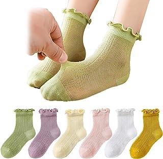 6 Pairs Baby Toddler girls thin cotton ankle Socks Summer Mesh Eyelet Princess Ruffle Frilly Cute Dress Socks for Kids