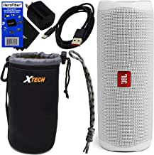 $97 » JBL Speaker Flip 5 Wireless Bluetooth Waterproof Portable Speaker (White) + Matching Wrist Strap + Xtech Carrying Pouch, USB Charging Cable, Wall Adapter & HeroFiber Cleaning Cloth – for JBL Speaker
