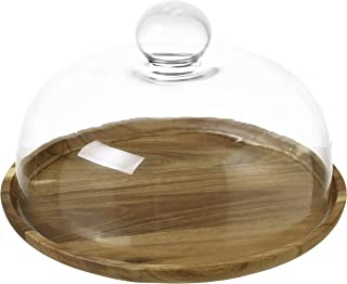 9 Inch Clear Glass Dessert & Cheese Cloche Dome with Acacia Wood Serving Tray