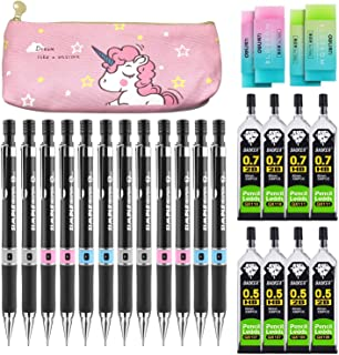 25 Pieces Mechanical Pencil Set,12 PCS 0.5 mm and 0.7 mm Metal Mechanical Pencils,8 Tubes HB and 2B Lead Refill with 4 Pieces Pencil Erasers for Office and School