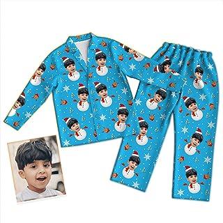 Conjunto de pijama facial personalizado,Pijama personalizado con cara divertida para novios novias mascota Regalo de cumpleaños de Navidad de ropa de dormir impresa con foto de varias caras