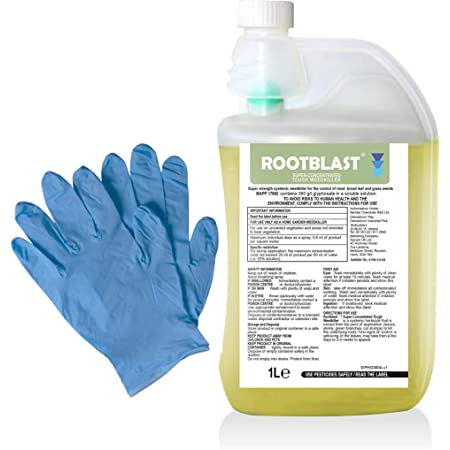 Rootblast 360 Glyphosate Home Garden Weedkiller 1L bottle with integral measuring device Pair of gloves 1L makes up to 50L
