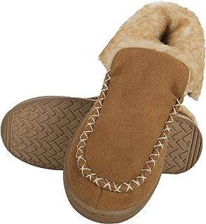 Chaps Boy's Bootie Slipper House Shoe with Indoor/Outdoor Nonslip Sole