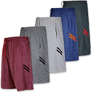 Real Essentials 5-Pack Youth Dry-Fit Active Athletic Basketball Gym Shorts with Pockets Boys & Girls