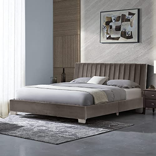 new arrival Giantex Queen Bed Frame, Vertical Tufted lowest Upholstered Platform online sale Bed W/Headboard, Heavy Duty Wood Slats Support & Mattress Foundation, Easy Assembly, No Box Spring Needed (Grey, Queen) sale