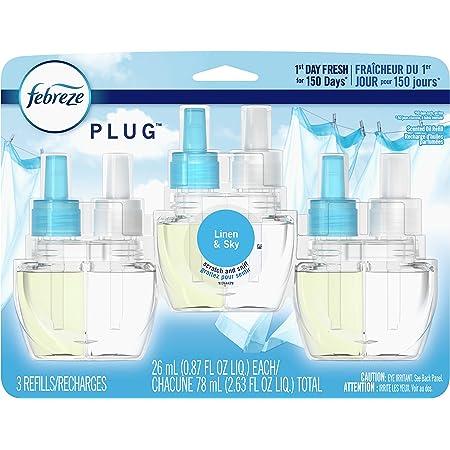 Febreze Odor-Eliminating Plug Air Freshener Refills, Linen & Sky, 3 Count