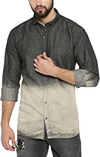 Campus Sutra Men's Tie-Dye Regular Fit Casual Shirt (AZ18SHRT_HH2C_M_PLN_BLCR_AZ_Black/Cream_Medium)