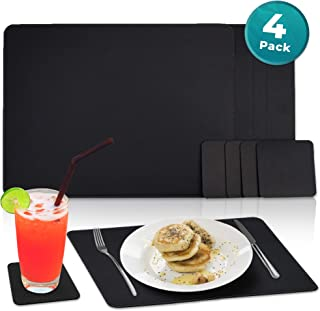 Nikalaz Set of Black Placemats and Coasters, 4 Table Mats and 4 Coasters, Recycled Leather, Place Mats 15.7 x 11.8 inches, Dining Table Set