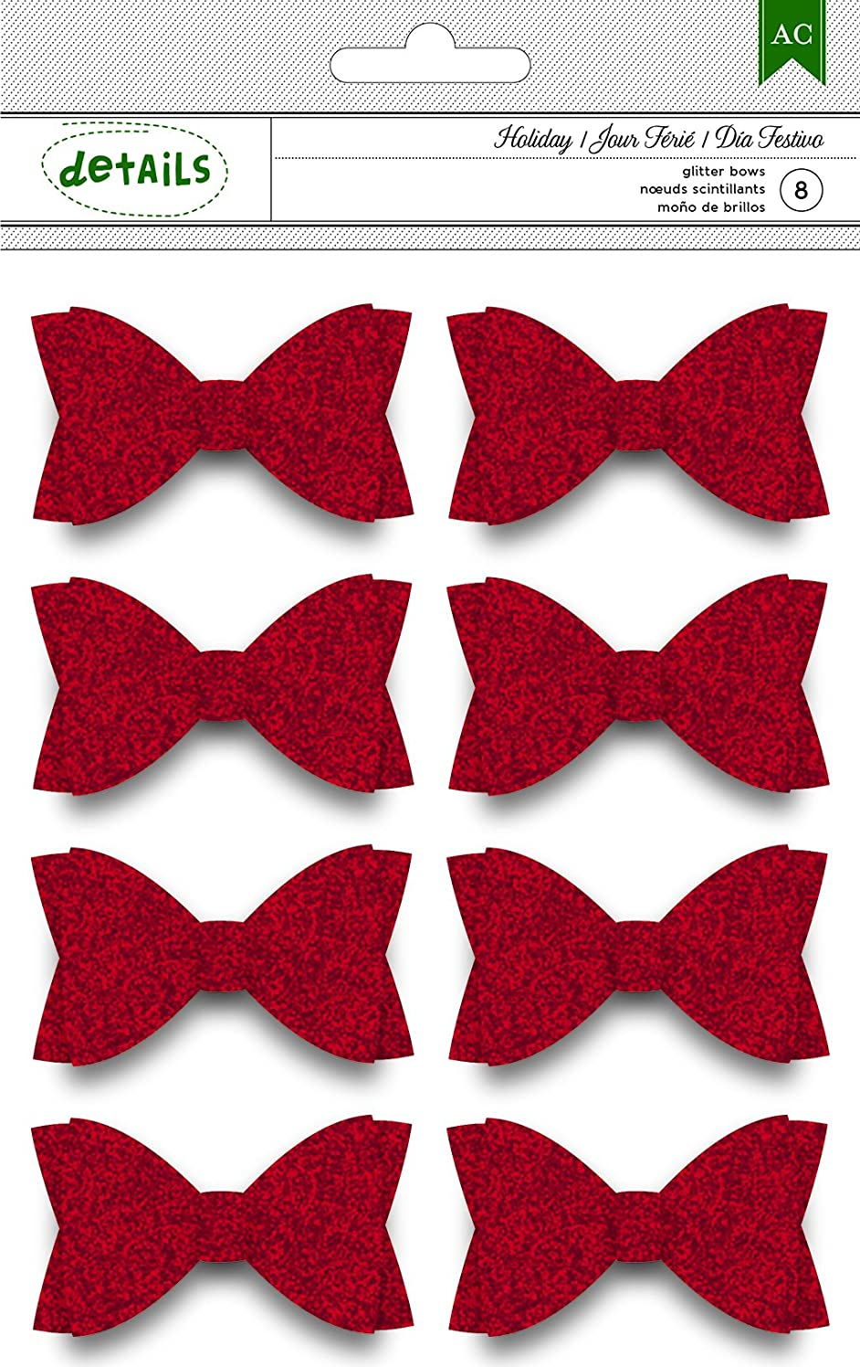 American Crafts 8 Piece Christmas Glitter Bows, Red