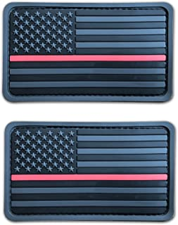 2 Pack 2x3.5 3D PVC Rubber Thin Red Line US USA American Flag Patch (Grey)