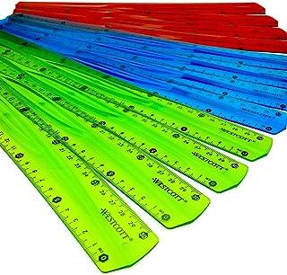 Westcott 30 cm – Règle flexible translucide incassable – Lot de 12–3 couleurs assorties