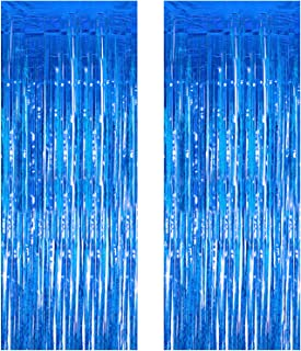 JVIGUE 2 Pack 3.3 ft x 9.8 ft Foil Curtains Metallic Fringe Curtains Shimmer Curtain Photo Backdrop for Halloween Christmas Birthday Party Wedding Decor (Blue)