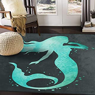 ALAZA Mermaid Silhouette Watercolor Area Rug Rugs for Living Room Bedroom 5'3